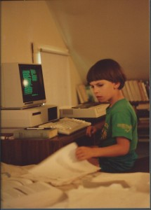 The author at work on his computer, ca 1987. Photo by Beate Popkin